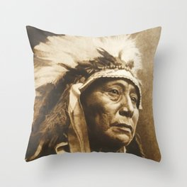 Chief Running Antelope - Native American Sioux Leader Throw Pillow