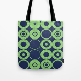 Green Bubbles on blue Tote Bag