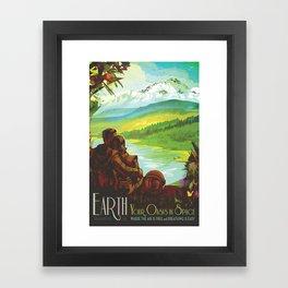 NASA Retro Space Travel Poster #2 - Earth Framed Art Print