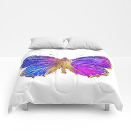 Elegant Gold-Glitter Butterfly in Blue and Purple Comforters