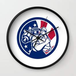American Cable Installer USA Flag Icon Wall Clock