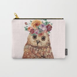 Owl with Flowers Carry-All Pouch