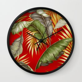 HAWAIIAN GARDEN TROPICAL LEAVES | tomato red gold Wall Clock