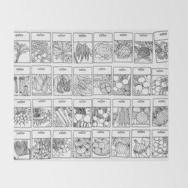 Veggie Seeds Patten - Line Art Throw Blanket