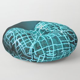 Cleveland, OH, USA, Blue, White, Neon, Glow, City, Map Floor Pillow
