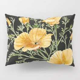 California Poppies on Charcoal Black Pillow Sham