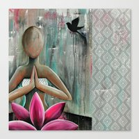 namaste Canvas Prints featuring Namaste  by hippocrocaduck