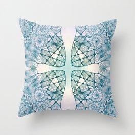Blue Wash Zentangled Cross Tile Doodle Design Throw Pillow