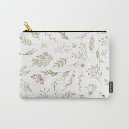 Watercolor forest green coral floral illustration Carry-All Pouch