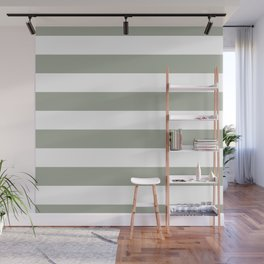 Large Desert Sage Grey Green and White Cabana Stripes Wall Mural