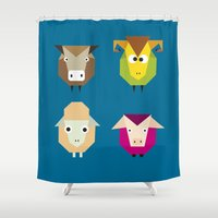 farm Shower Curtains featuring geometric farm by Fairytale ink
