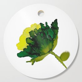 Alcohol Ink - Green Floral Cutting Board