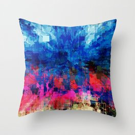 Bright Blues and Pinks Pattern Abstract Throw Pillow