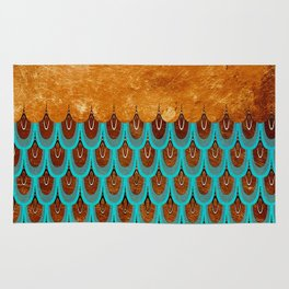 Copper Metal Foil and Aqua Mermaid Scales - Beautiful Abstract glitter pattern Rug
