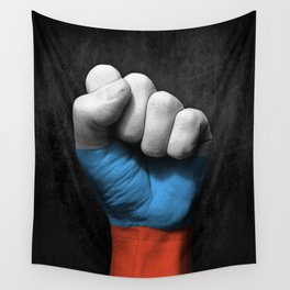 Russian Flag on a Raised Clenched Fist Wall Tapestry