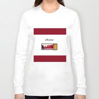 china Long Sleeve T-shirts featuring China by L Bove Art