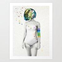 robot Art Prints featuring Robot Rock #2 by Jenny Liz Rome