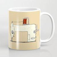sewing Mugs featuring Sewing machine by taichi_k