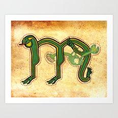 Medieval Celtic Frog Letter M Vintage 2017 Art Print