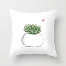 Succulent in Plump White Planter Throw Pillow