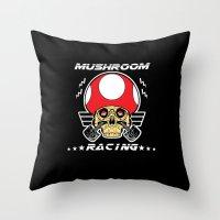 mario kart Throw Pillows featuring Mushroom racing mario kart by Buby87