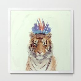 Sloppy Art Tiger Painting Metal Print
