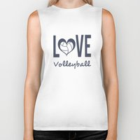 volleyball Biker Tanks featuring Love Heart Volleyball (blue) by raineon