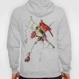 Cardinal Birds, birds art, two bird artwork cardinal bird Hoody