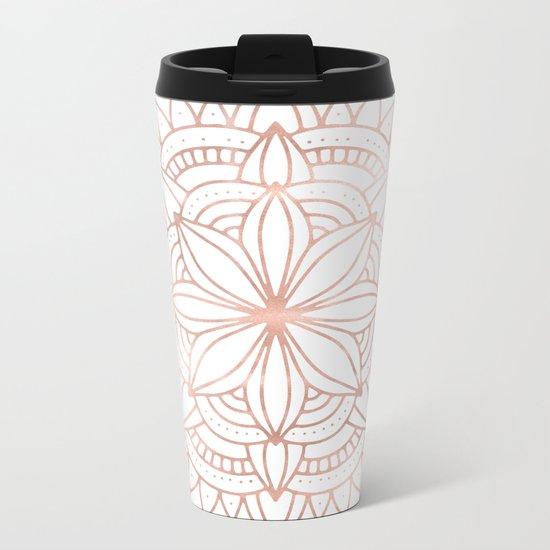Mandala Rose Gold Pink Shine Metal Travel Mug