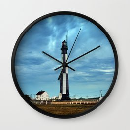 New Cape Henry Lighthouse Under Ominous Clouds Wall Clock