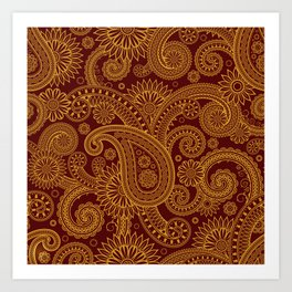 Oriental Persian Paisley, Swirls - Red Yellow Art Print