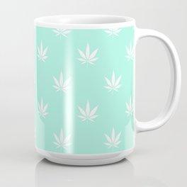 Turquoise Mermaid Mint Cannabis Pot Leaf Pattern Coffee Mug