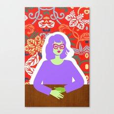 Wren and Wallpaper Canvas Print