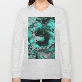 Teal and black Marble texture acrylic Liquid paint art Long Sleeve T-shirt