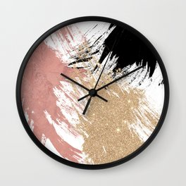 Giant Artsy Brushstrokes in Gold Rose Gold Glitter Wall Clock
