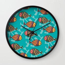 Colorful fish pattern Wall Clock