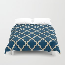 Moroccan Quatrefoil Pattern: Dark Blue & Beige Duvet Cover
