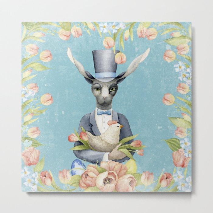 Beautiful Floral Flowers Animal Easter Bunny Metal Print