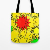 yellow pattern Tote Bags featuring Yellow pattern  by Vivian Fortunato