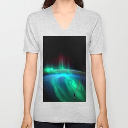 Aurora Borealis Over Earth Unisex V-Neck