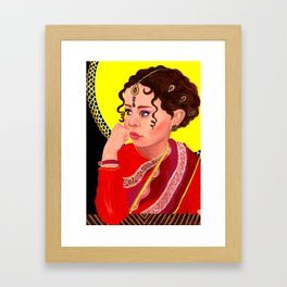 Indian Girl | Acrylic Portrait Painting Framed Art Print