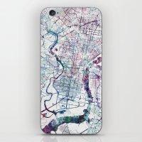 philadelphia iPhone & iPod Skins featuring Philadelphia map by MapMapMaps.Watercolors