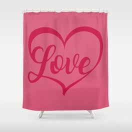 Valentine's Day Love Heart Shape Shower Curtain