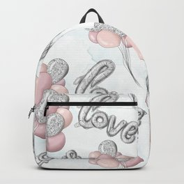 Pink and Gray Love Ballons Backpack