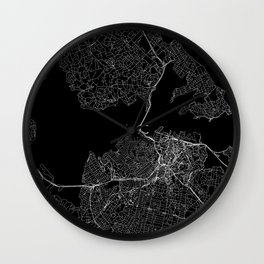 Auckland Black Map Wall Clock