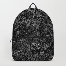 Crazy monsters in a crowded pattern Backpack