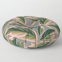 Calathea Leaves Pattern- Pink Green Gray Floor Pillow