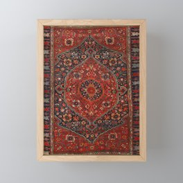 Persian Joshan Old Century Authentic Colorful Red Rusty Blue Vintage Rug Pattern Framed Mini Art Print