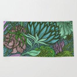 Green flowers Beach Towel