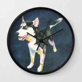 Husky Puppy Wall Clock
